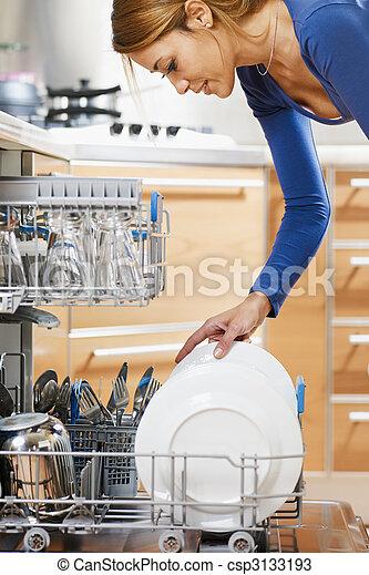utilizar, lavaplatos, mujer - csp3133193
