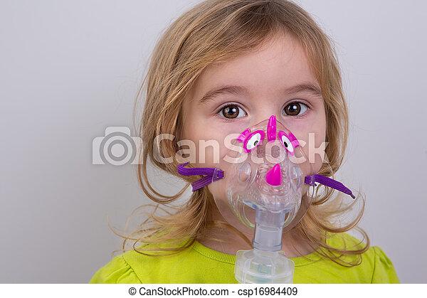 utilizar, precaución, nebulizer, niño - csp16984409