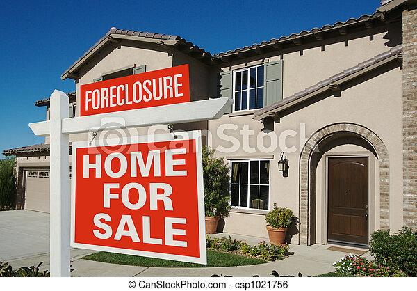 utmätning, hus, realisation signera, front hemma, färsk - csp1021756