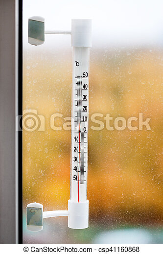 utomhus, autum, fönster glasruta, termometer, hem