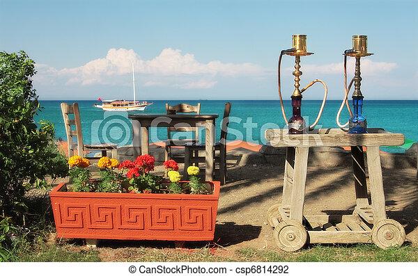 utomhus, (nargile), restaurang, waterpipes, turkisk, medelhavet, två, traditionell, hav, bord, turkey., kemer, synhåll - csp6814292