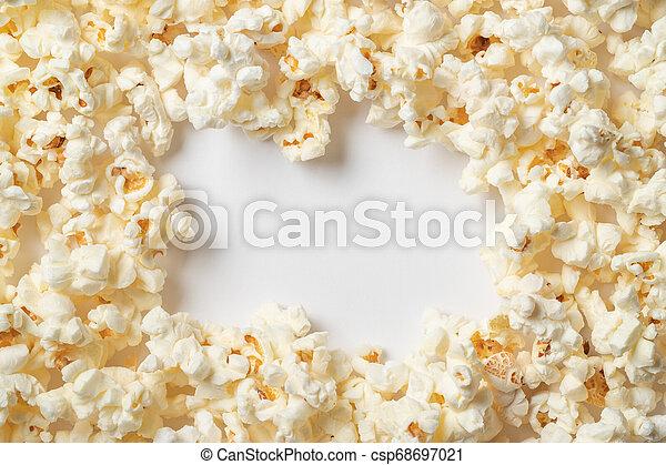utrymme, text., bakgrund, popcorn, vit, tom - csp68697021