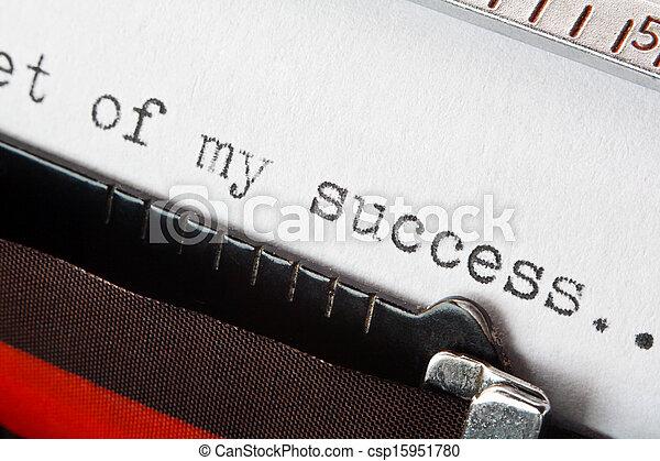 uttryck, maskinskrivit, framgång, skrivmaskin - csp15951780