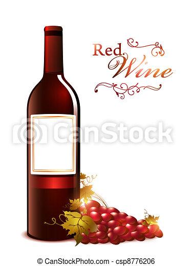 Una botella de vino tinto con uva - csp8776206