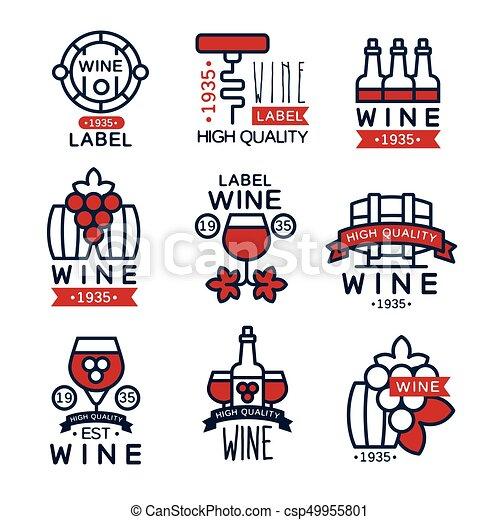 Etiquetas de vino tinto, colección de emblemas de vino abstracto vectores de ilustraciones - csp49955801