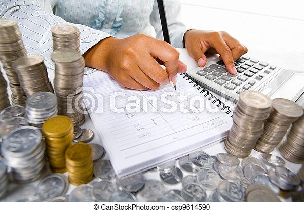 uważając, kobieta, pracujący - csp9614590