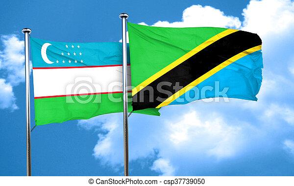Uzbekistan flag with Tanzania flag, 3D rendering - csp37739050