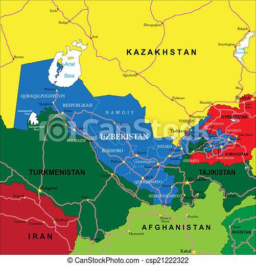 uzbekistan karta Uzbekistan map. Highly detailed vector map of uzbekistan with  uzbekistan karta