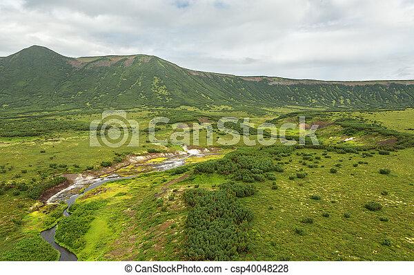 Uzon Caldera in Kronotsky Nature Reserve on Kamchatka Peninsula. - csp40048228