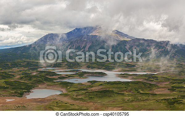 Uzon Caldera in Kronotsky Nature Reserve on Kamchatka Peninsula. - csp40105795