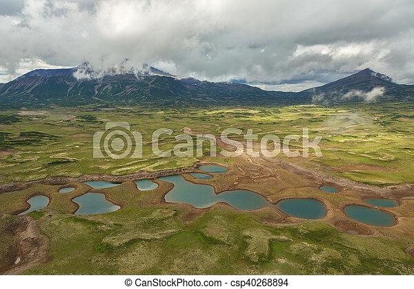 Uzon Caldera in Kronotsky Nature Reserve on Kamchatka Peninsula. - csp40268894