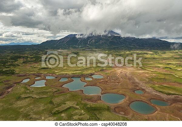 Uzon Caldera in Kronotsky Nature Reserve on Kamchatka Peninsula. - csp40048208