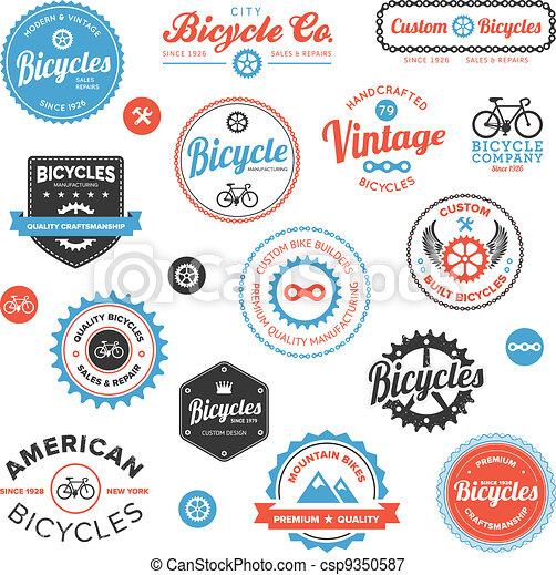 vário, emblemas, etiquetas, bicicleta - csp9350587