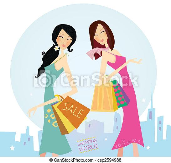 város, bevásárlás, womans - csp2594988