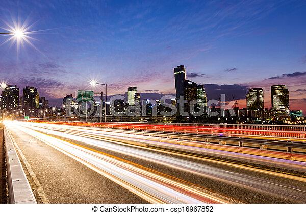 város, elfoglalt, forgalom, modern - csp16967852
