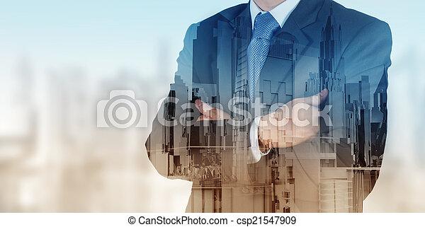 város, elvont, üzletember, kitevés, megkettőz - csp21547909
