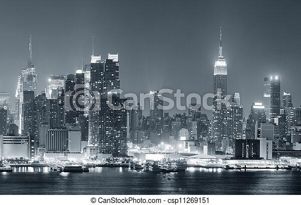város, fekete, york, új, fehér, manhattan - csp11269151