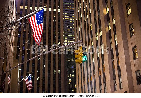 város, felhőkarcoló, állati tüdő, amerikai, forgalom, york, háttér, új, zászlók - csp34520444