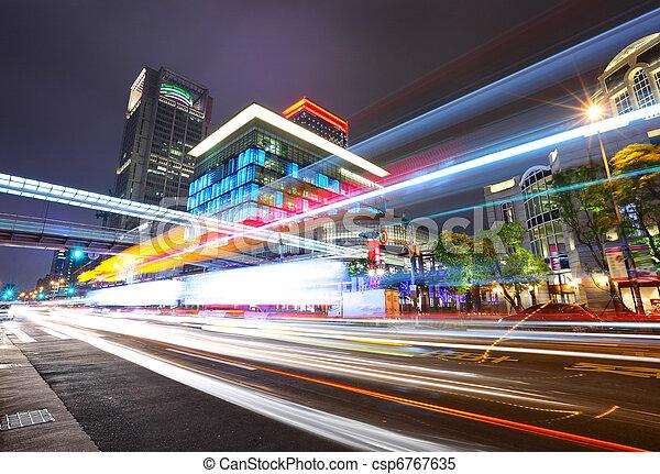 város forgalom, taipei, éjszaka - csp6767635