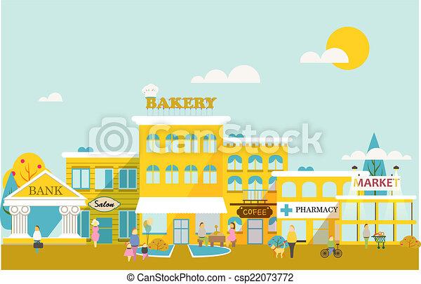 város, kicsi, közeg, business. - csp22073772