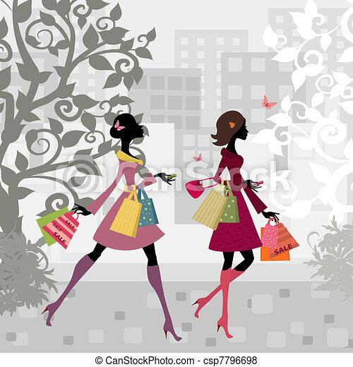 város, lány, gyalogló, bevásárlás, mindenfelé - csp7796698
