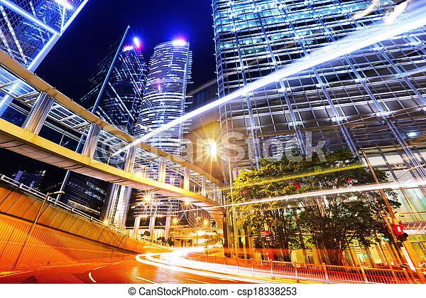 város, modern, forgalom, nyom - csp18338253