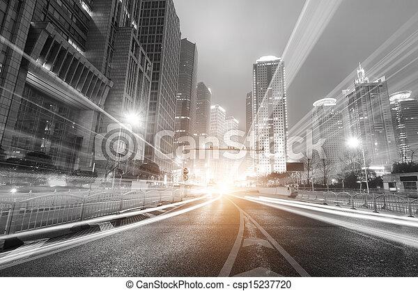 város, shanghai, pénzel, sáv, &, lujiazui, modern, kereskedelem, háttér, éjszaka - csp15237720