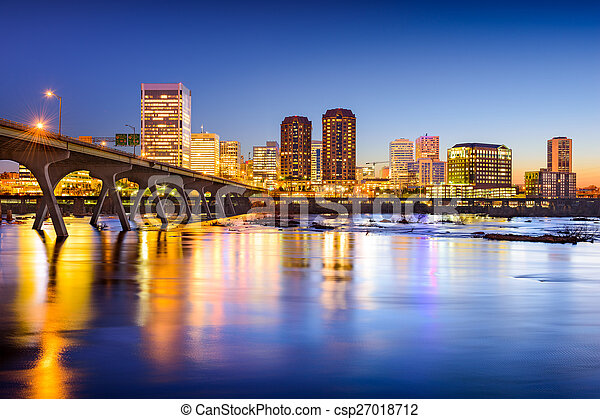 város, usa, virginia, richmond, belvárosi, skyline. - csp27018712