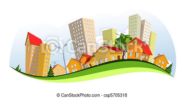 város, vektor, -, nyár - csp5705318