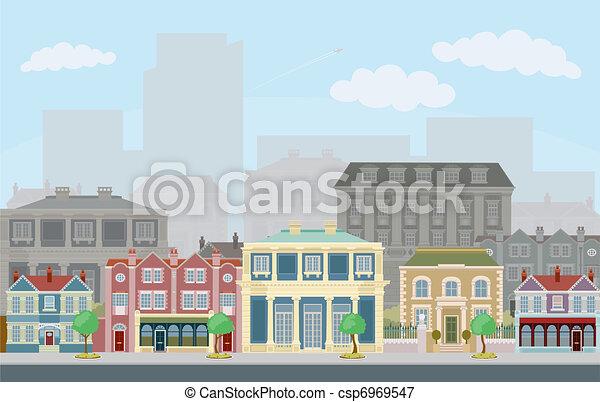 városi, utca táj, furfangos, város épület - csp6969547