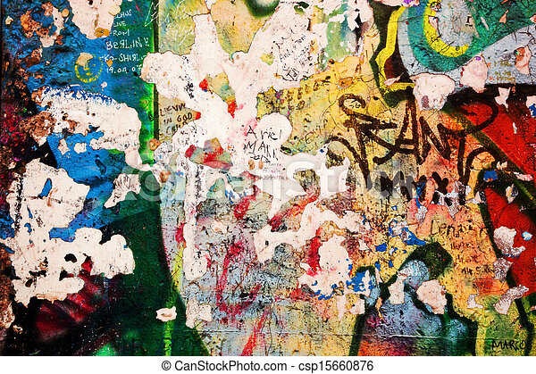 vägg, berlin, del, graffiti - csp15660876