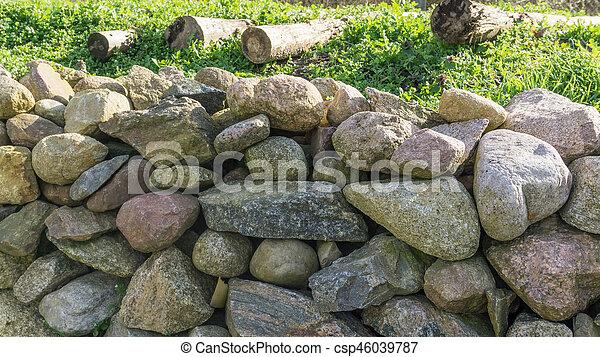vägg, fält, sten, solsken, trädgård - csp46039787
