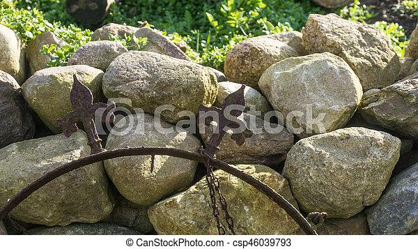 vägg, fält, sten, solsken, trädgård - csp46039793