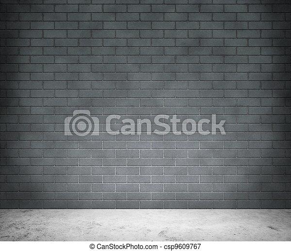 vägg, grå, tegelsten, bakgrund - csp9609767