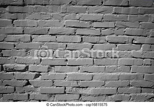vägg, grå, tegelsten - csp16815575