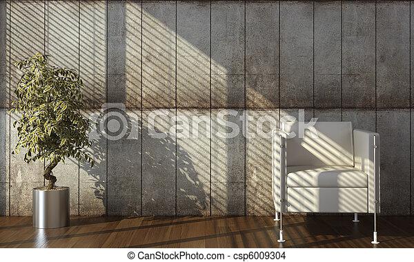 vägg, konkret, heminredning, fåtölj - csp6009304