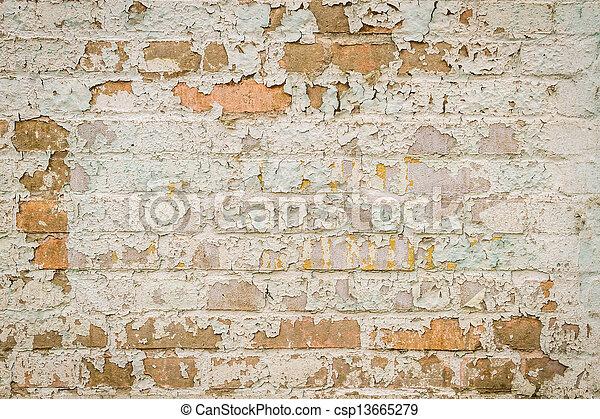 vägg, skalande, tegelsten, gammal, måla - csp13665279