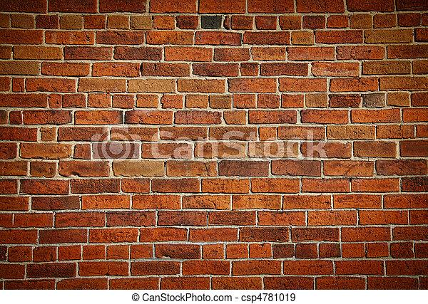 vägg, tegelsten, fläckat, gammal, ridit ut - csp4781019