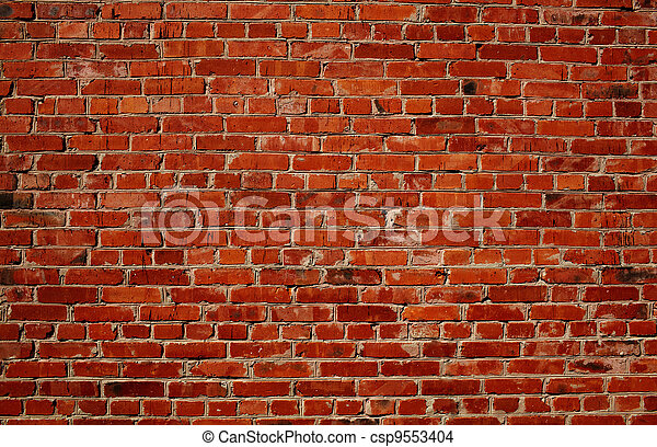 vägg, tegelsten, röd - csp9553404