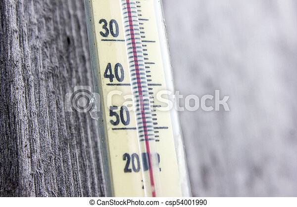 vägg, trä, gammal, termometer