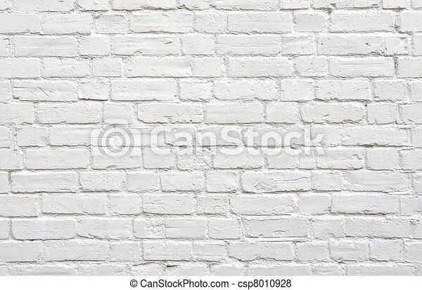 vägg, vita tegelsten - csp8010928