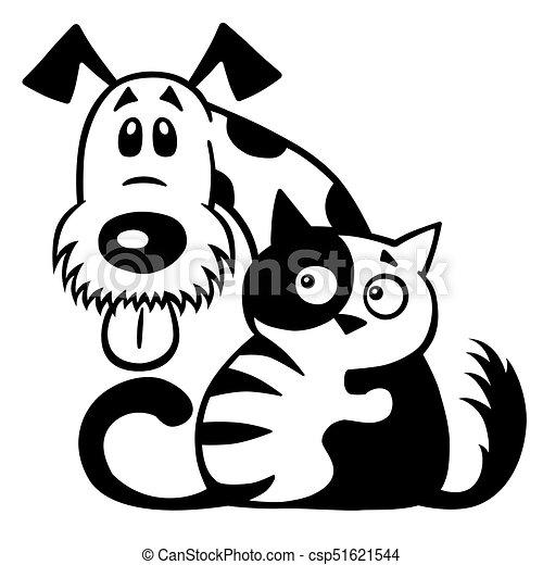 Vänskap Vit Svarting Hund Katt