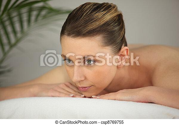 väntan, kvinna, massera - csp8769755