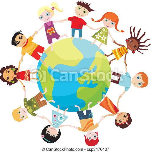 värld, barn - csp3476407
