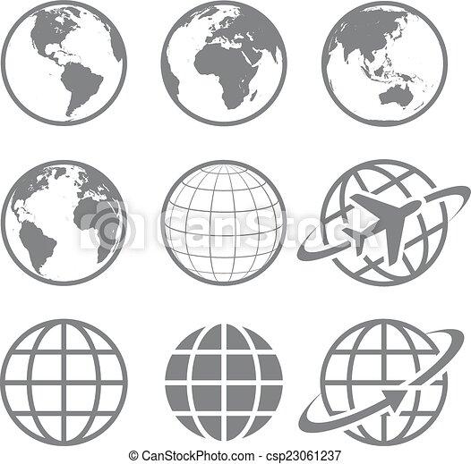 värld glob, sätta, ikon - csp23061237