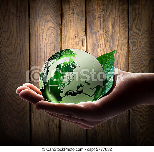 värld, grön, hand - csp15777632