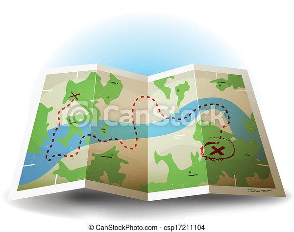 värld karta, grunge, tecknad film, ikon - csp17211104