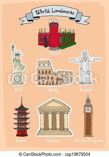 värld, milstolpar, ikon, sätta - csp19879504