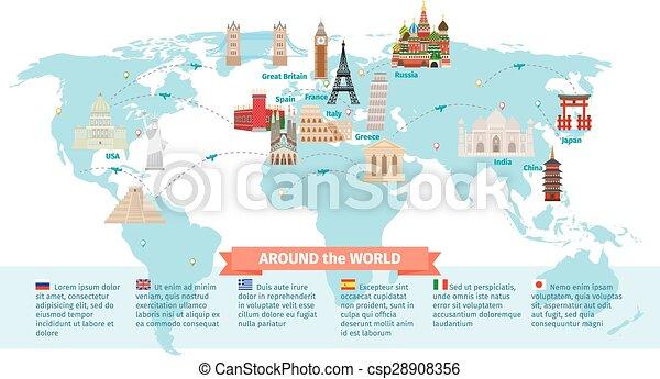 värld, milstolpar, karta - csp28908356