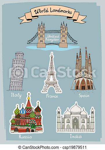 värld, sätta, hand-drawn, milstolpar, ikonen - csp19879511